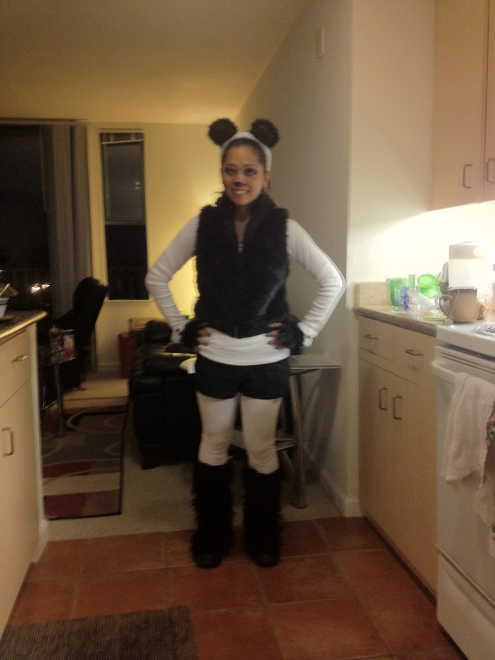 Panda costume: Shorts and shirt were mine (along with boots). Bought, Vest, ears, paws, tights and fur boot covers.