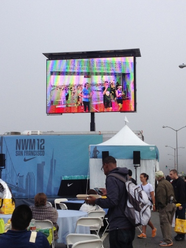 Family Meeting Area with Video Screen so you can see when your family member crosses the finish line.